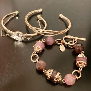 Gold and Purple Cuffs and Bracelet, Set of 3!